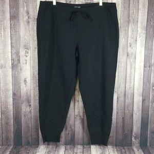 Eileen Fisher black cotton ankle zip jogger pants